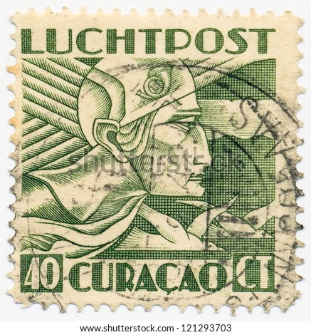 CURACAO- CIRCA 1934: A stamp printed in Netherlands Antilles (Curacao), shows a  Art Deco stamps, circa 1934