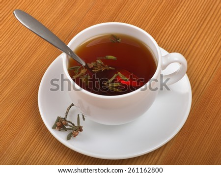 Curative tonic tea drink with Rhododendron adamsii - stock photo