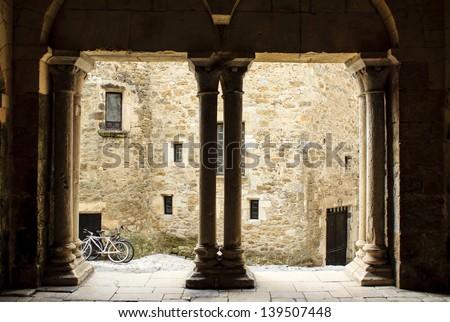 Curch entrance in Carennac village, France - stock photo