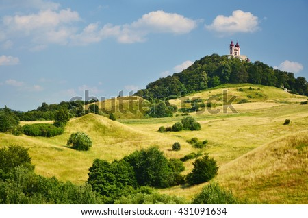 Curch on the top of the hills. Slovakia city Banska Stiavnica