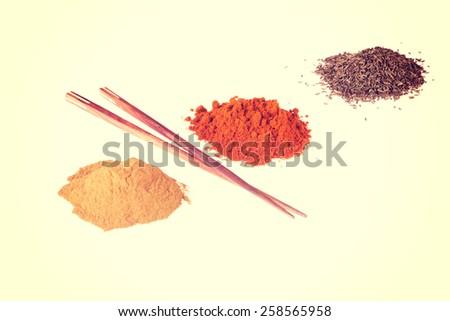 Curcuma or curry pepper and chili pepper spices.  - stock photo