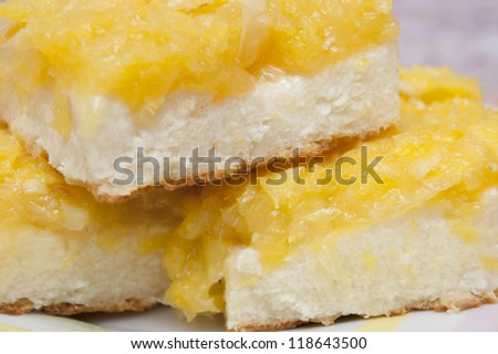 Curd cake with oranges on a plate