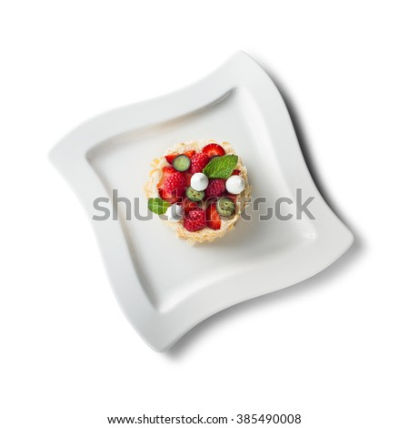 Curd mousse, isolated on white - stock photo