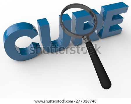 Cure - 3d Text with magnifier over white background - stock photo