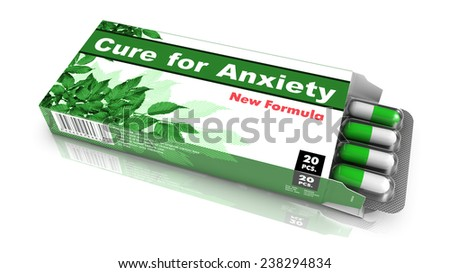 Cure for Anxiety - Green Open Blister Pack Tablets Isolated on White. - stock photo