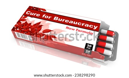 Cure for Bureaucracy - Red Open Blister Pack Tablets Isolated on White. - stock photo