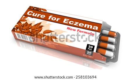 Cure for Eczema - Orange Open Blister Pack Tablets Isolated on White. - stock photo