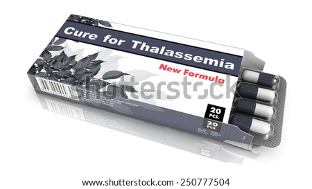 Cure for Thalassemia - Grey Open Blister Pack Tablets Isolated on White. - stock photo