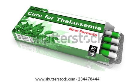 Cure for Thalassemia, Pills Blister getting out from Green Box over White Background. - stock photo