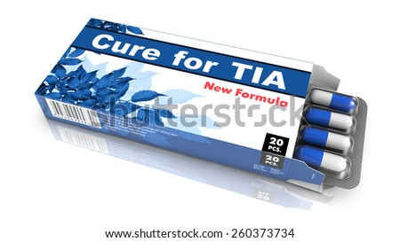Cure for TIA - Blue Open Blister Pack Tablets Isolated on White.