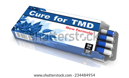 Cure for TMD, Pills Blister getting out from Blue Box over White Background.