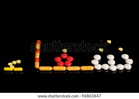 CURE, written in Arabic language - stock photo