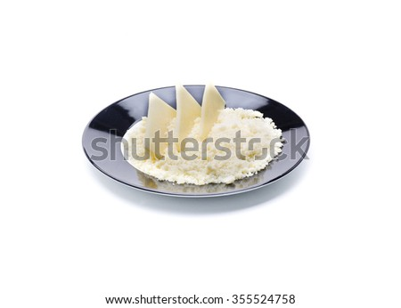 cured grated cheese, seasoning food ingredient - stock photo