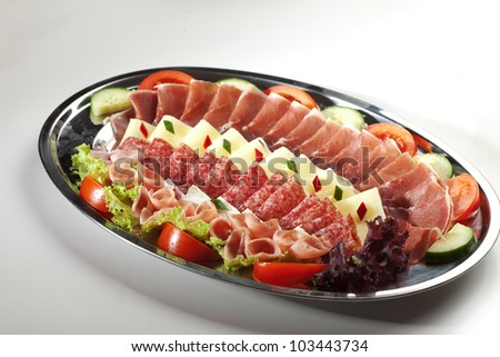 cured meats and cheese selection - stock photo