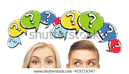 curiosity, information, knowledge, education and people concept - happy young women or teenage girl faces with question marks