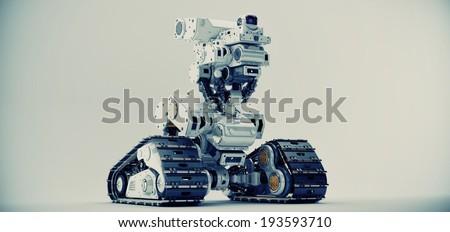 Curiosity robot / Smart multi-functional robot on tracks - stock photo