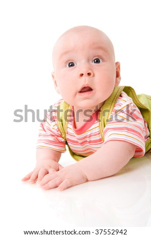 Curious Baby making funny face isolated on white