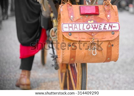 """Curious bicycle license plate """"Halloween"""" - stock photo"""