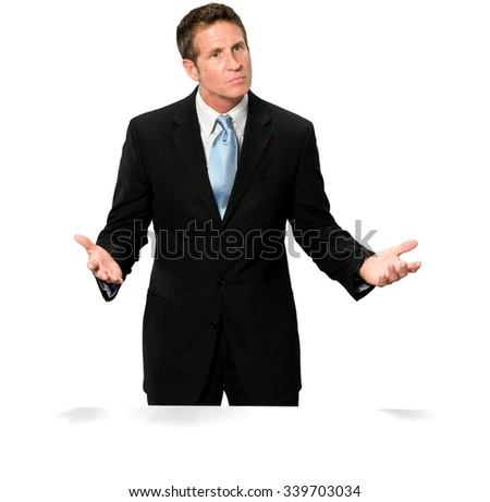 Curious Caucasian man with short black hair in business formal outfit with arms open - Isolated