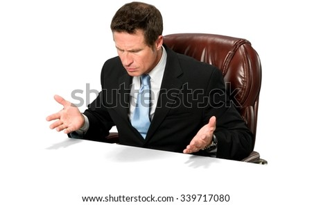 Curious Caucasian man with short black hair in business formal outfit with arms open - Isolated - stock photo