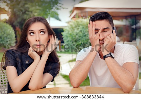 Curious Girl Listening to Her Boyfriend Talking on The Phone - Girlfriend spying on her loved one eavesdropping private conversation