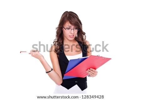 Curious girl with booklets in hands, white background - stock photo