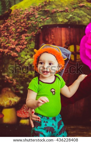 curious little boy  glad his  mother - stock photo