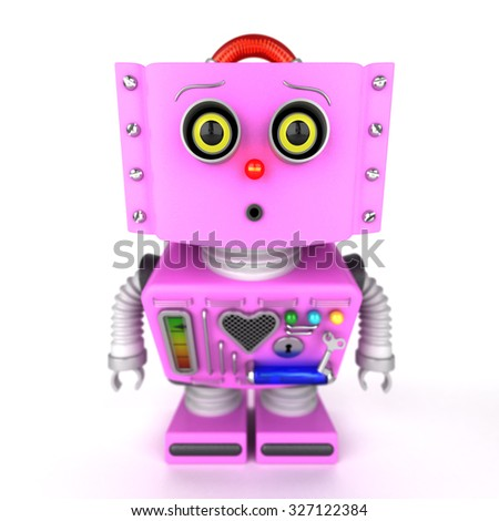 Curious pink toy robot girl leaning forward to look at something with shallow depth of field. Selective focus on the eyes.