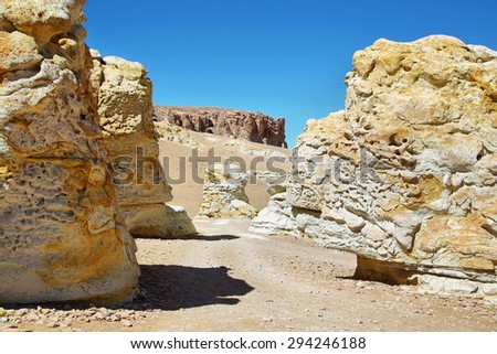 Curious white and yellow formations on the way to Salar de Tara, El Loa province, Chile - stock photo