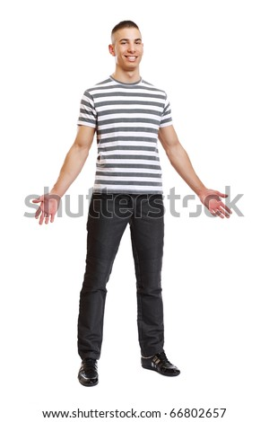 curious young man posing in studio - stock photo