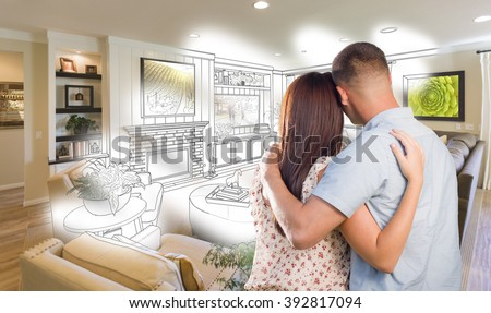 Daydreaming young military couple over custom stock photo for Young couple living room ideas
