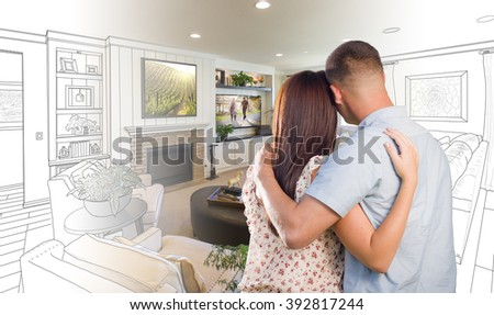 Curious young military couple looking over stock photo for Living room ideas young couples