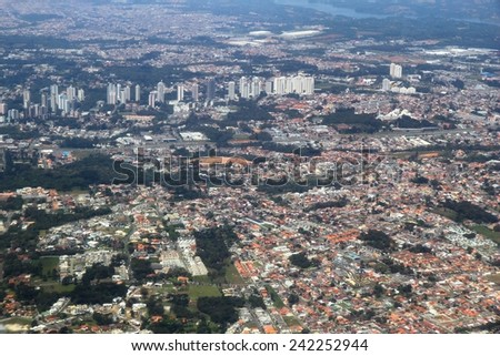 Curitiba, Brazil - aerial view of Santa Felicidade and Mossungue districts.