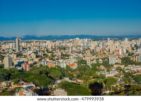 CURITIBA ,BRAZIL - MAY 12, 2016: nice view of the city from the german forest opened on 1996 in curitiba the capital of the brazilian state of parana