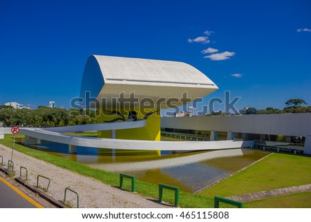CURITIBA ,BRAZIL - MAY 12, 2016: the oscar niemeyer museum focused in architecture, design and visual arts