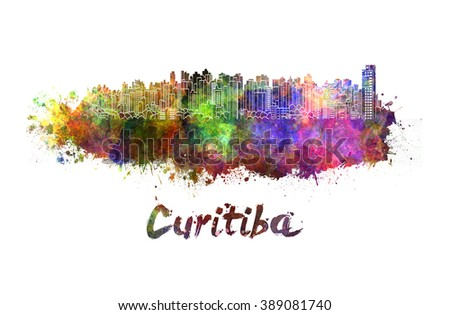 Curitiba skyline in watercolor splatters with clipping path - stock photo