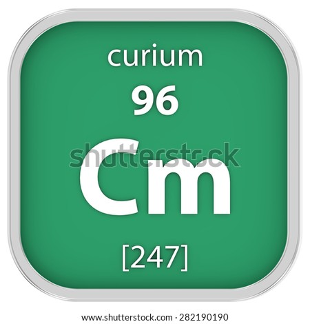 Curium material on the periodic table. Part of a series. - stock photo
