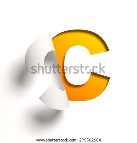 Curl paper font letter C - stock photo