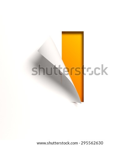 Curl paper font letter I - stock photo