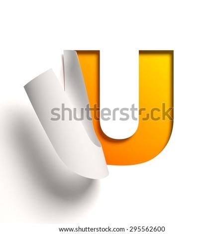 Curl paper font letter U - stock photo