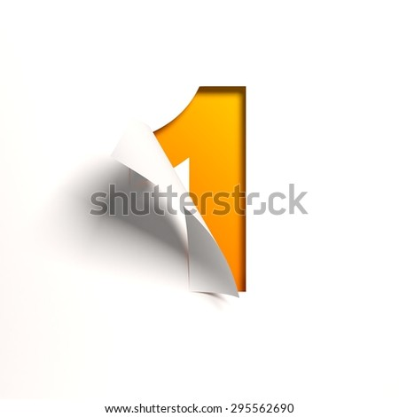 Curl paper font number 1  - stock photo