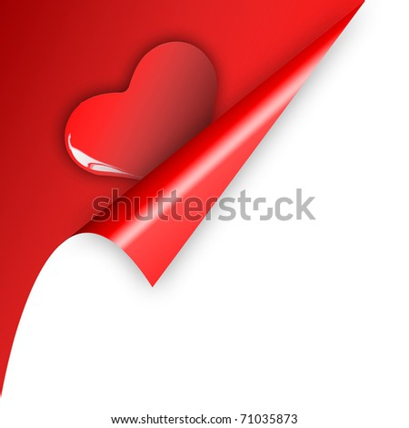Curl paper reveal Heart. Concept for Valentine Gift.