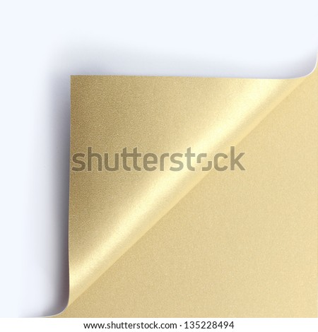 Curled golden page corner ready for your design - stock photo