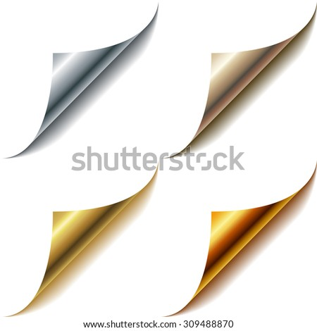 Curled metallic page corners set isolated on white. - stock photo