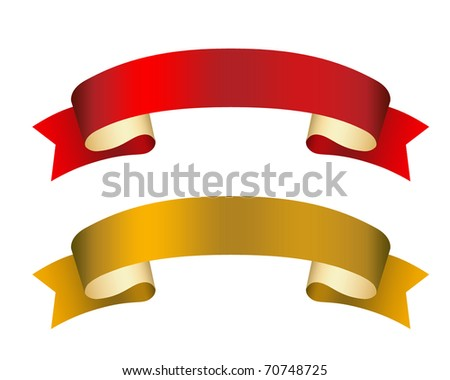 curled ribbons illustration - stock photo