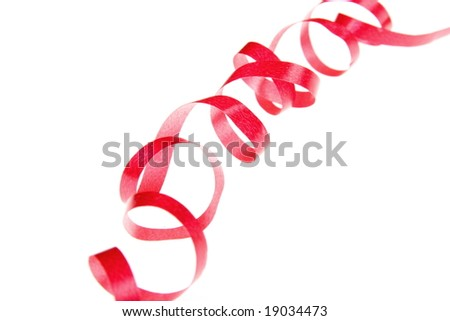curly and red ribbon isolated on white