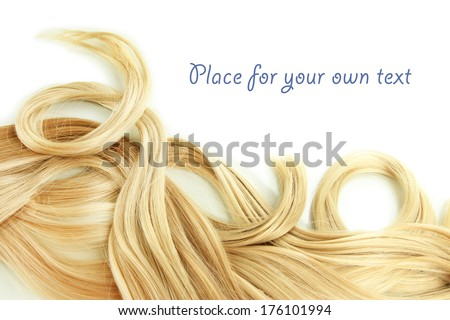 Curly blond hair close-up isolated on white - stock photo