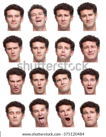 curly brunette adult caucasian man collection set of face expression like happy, sad, angry, surprise, yawn isolated on white