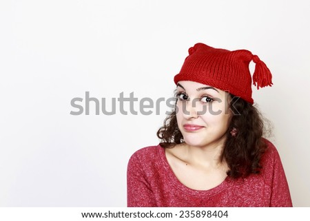 Curly brunette in Christmas mood, isolated - stock photo