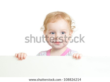 Curly cute child face holding blank advertising banner - stock photo
